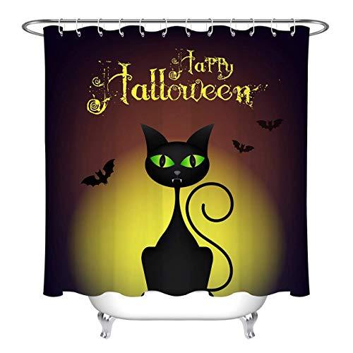 Abaysto Halloween Cartoon Black Cat Bat Polyester Fabric Shower Curtain Sets with Hooks Waterproof Mildew Bathroom Decor ()