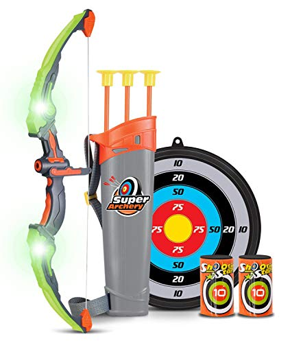 Bow and Arrow Kids Archery Set | Bow and Arrow for Boys with Target, Quiver & 3 Suction Cup Arrows | Practice & Play Bow Hunting Indoor & Outdoor | Toy Bow and Arrow (Green)]()
