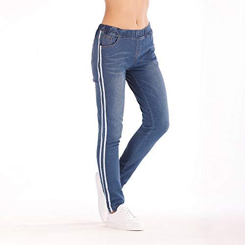 Magro Vita Lato Jeans Stretti Autunno jeans Denim Bianco Donna Piedi Elastico donne Nuovo Casuale Lqqstore Nastro W18qPBB
