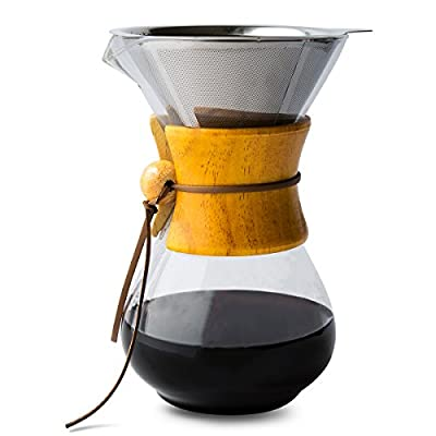 Pour Over Coffee Maker with Borosilicate Glass Carafe and Reusable Stainless Steel Filter by Comfify - Manual Coffee Dripper Brewer with Real Wood Sleeve - 30 oz.