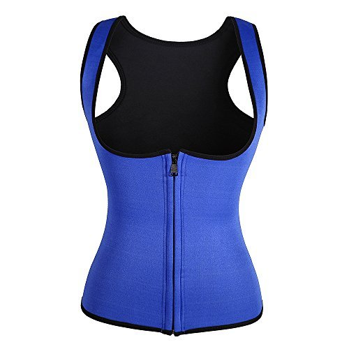 Junlan Slimming Neoprene Vest Hot Sweat Shirt Body Shapers for Smooth Muffin Top (XL, Blue)