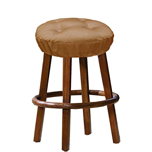 Cotton Craft - 100% Cotton Twill Bar Stool Cover 2 Pack - Dark Tan - 12 Inch Round - Tufted Stool Cover is Filled with Comfortable 100% Poly Fill and has an Elastic Skirt to Keep it Locked in Place ()