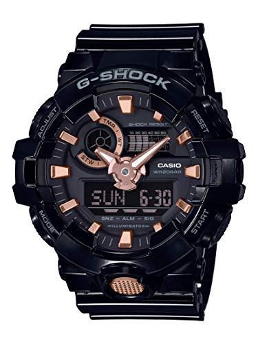 Casio Men's XL Series G-Shock Quartz 200M WR Shock Resistant Resin Color: Glossy Black and Rose Gold (Model GA-710GBX-1A4CR)