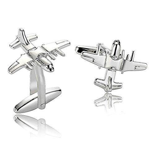 Epinki Stainless Steel Bomber Plane Silver Mens Cufflinks and Studs - Sydney Bulgari
