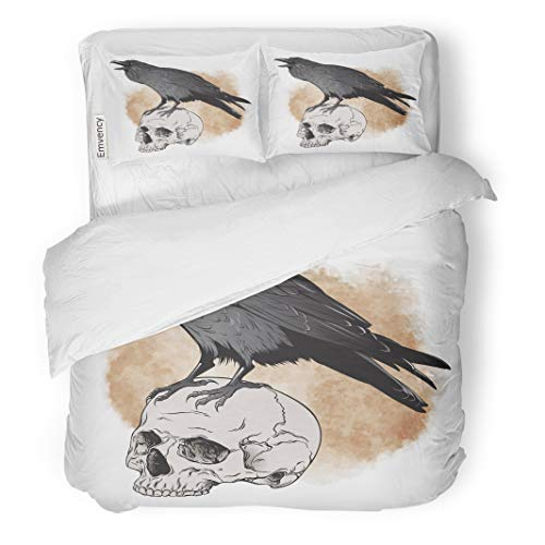 (Semtomn Decor Duvet Cover Set King Size Brown Poe Raven and Skull on Sepia Watercolor Scary 3 Piece Brushed Microfiber Fabric Print Bedding Set)