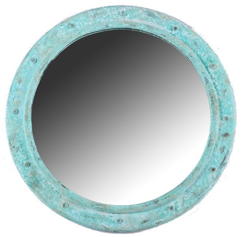 Nautical Tropical Imports Porthole Mirror 20 Inch Shipwreck Finish Non Opening Wall -