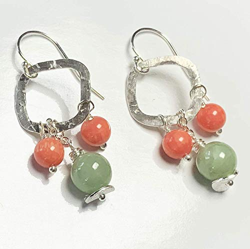 Orange Coral Earrings Green Jade Sterling Silver 35th Anniversary
