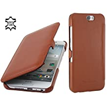 StilGut Book Type with Clip, Genuine Leather Case for HTC One A9, Cognac Brown