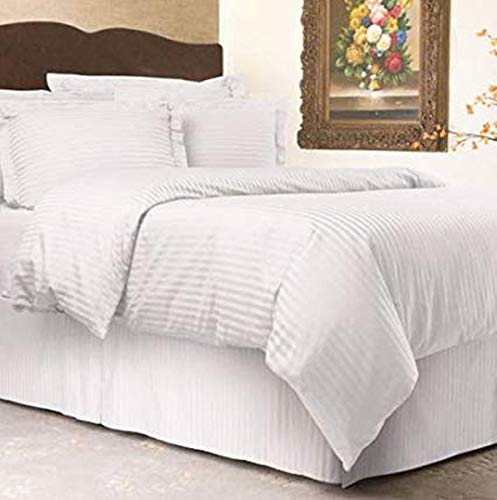 - LINENWALAS Soft & Cozy Sateen Weave Stripe Patterned Duvet Cover with Zipper 3-Piece Set 100% Long Staple Cotton 300 Thread Count - White - Queen/Full