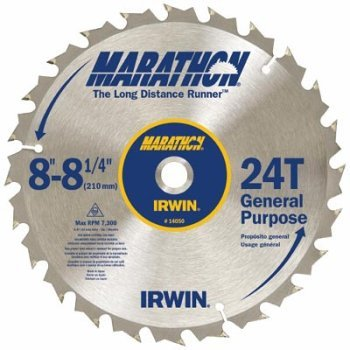 Irwin Industrial Tools 14050 8-1/4-Inch 24-Teeth 5/8 Diamond Arbor Miter and Table Saw Blade Size: 8-1/4 24T Style: Marathon, Model: 14050ZR, Outdoor & Hardware Store