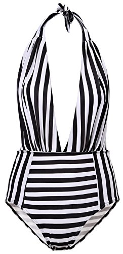 BESUMA Women One Piece Bathing Suits Backless Bikini Bather Swimsuit High Waisted Pin Up Swimwear