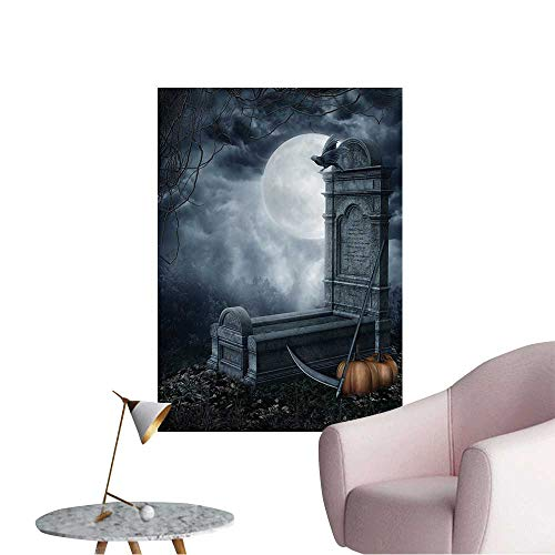 Vinyl Artwork Halloween Scenery with a Spooky Tombstone and Pumpkins Easy to Peel Easy to Stick,12