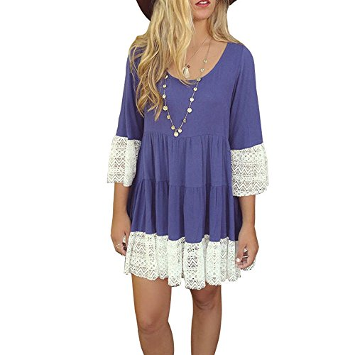 BOBIBI Women Bohemian 3/4 Sleeve Lace Splice Loose Tunic Dress