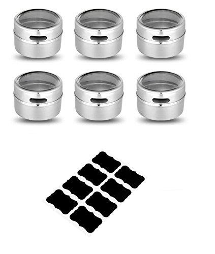 Fiesta LMETJMA Magnetic Spice Tins Stainless Steel Spice Jar Set With Stickers Pepper Shakers Salt Pepper Set Seasoning Sprays KC0017: 6 pcs