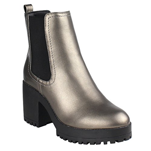 Elastic Goring Pull On Platform Heeled Chelsea Ankle Booties, Color Pewter, Size:11 (Leather Color Block Platform)