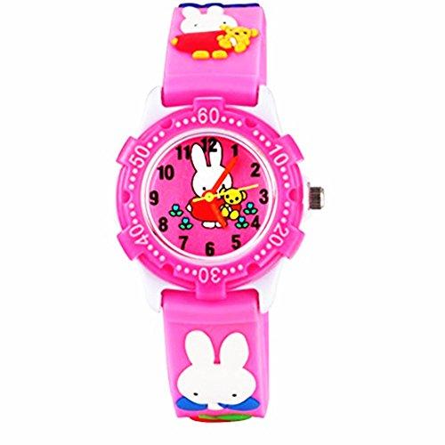 Eleoption Waterproof Kids Watch for Girls Boys Time Machine Analog Watch Toddlers Watch 3D Cute Cartoon Silicone Wristwatch Time Teacher for Little Kids Boys Girls Birthday Gift (Pink Rabbit)
