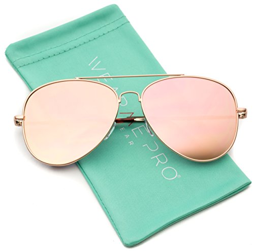 WearMe Pro - Pink Lens Cute Women Large Aviator - Mirrored Cute Sunglasses