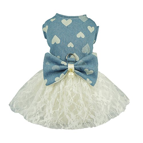 Small Dog Dress Harness Clothes (Fitwarm Denim Dog Harness Lace Dress Pet Clothes D-ring Vest Shirts Sundress Small)
