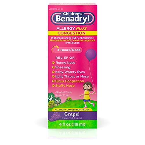 Children's Benadryl Allergy Plus Congestion Liquid, Made with Diphenhydramine HCl Antihistamine & Phenylephrine HCl Nasal Decongestant, Alcohol- & Sugar-Free, Grape Flavor, 4 fl. oz (Pack of 2)