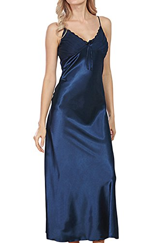 Asherbaby Women's Sexy Satin Long Nightgown Lace Slip Lingerie Chemise Robes (US 12, Navy)