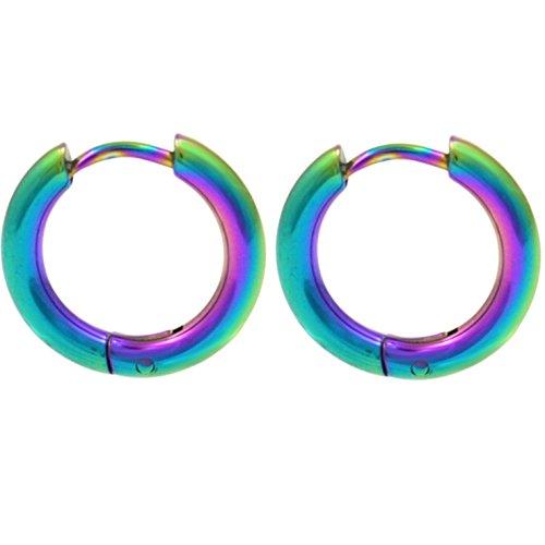 Pair of Rainbow Anodized Steel Hinge Hoop Earrings 10-20mm (12mm Diameter) Continous Hinges