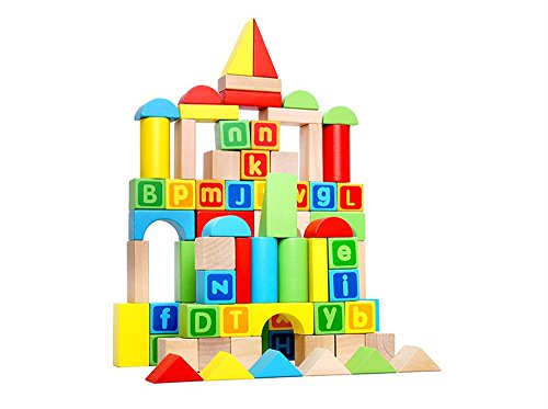 Set Hardwood (TookyToy Preschool 80-Piece ABC Wooden Block Set - 80 Toy Blocks for Toddlers Preschool Age - Hardwood Plain & Colored Small Wood Blocks for Boys & Girls)