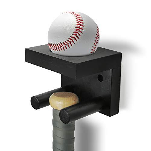 AXUAN Baseball Bat Wall Mount, Softball Bat Holder Stand for Horizontal & Vertical Display, Wooden Display Rack for…