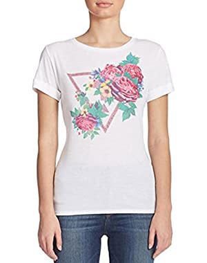 Guess Embellished Graphic Tee, White Floral, Small