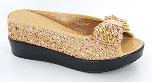Helens Cuore Bling Sparkle Metallico Scivolo Casual Con Cuneo Nascosto, Colori Assortiti -21 Oro