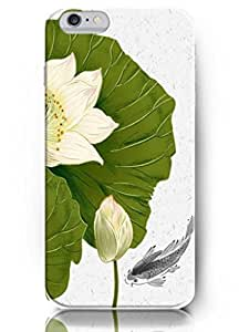 Popular Designed New Unique Charming Hard Cover Swimming Fish and Lotus 5.5 Inch Iphone 6 Plus Case for Teen Girls BY Xincase