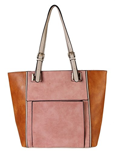 diophy-high-quanlity-pu-leather-front-pocket-two-tone-large-tote-womens-purse-handbag-cl-3504-pink