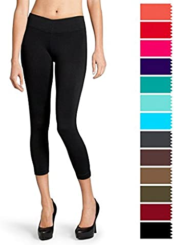 Solid Soft Seamless Stretchy Women's Capri Leggings Pants with Wide Waistband (Black)