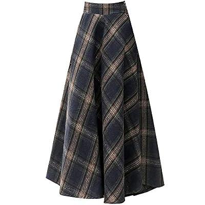 Retro Winter Long High Waist A Word Big Hem Plaid Woolen Skirt