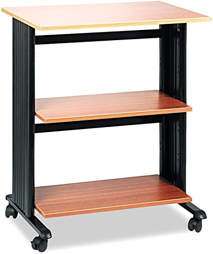 Safco Products Muv Adjustable Printer Stand 1881MO, Medium Oak, Swivel Wheels, Two Adjustable Shelves