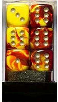 16mm Six Sided Die Chessex Dice d6 Sets: Gemini Red /& Yellow with White 12 Block of Dice