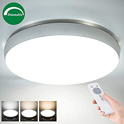 Airand 40W LED Ceiling Light with Remote, 19.3'' Round 3600lm Dimmable Flush Mount Ceiling Light Fixture for Bedroom,Living Room,Kitchen,Dining Room, Rattan Ceiling Lamp,Timer,3 Light Color Changeable