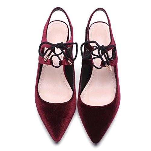 Enmayer Mujer Nubuck Material Sandalias Puntiagudos Talones Cuadrados Vestido De Damas Zapatos Vino Tinto