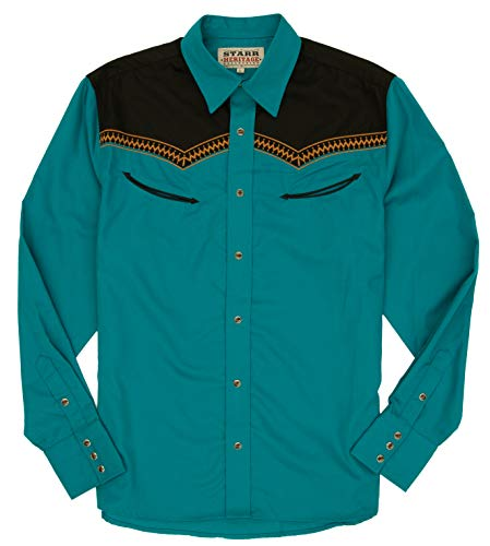 - STARR Heritage Vintage Embroidered Western Snap Shirt SHC003-7 | Retro Two Tone