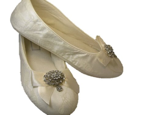 Wedding Shoes White White White or Ivory Ballet Flats with Vintage Style Brooch B00K86IJOK Shoes ce7c6a