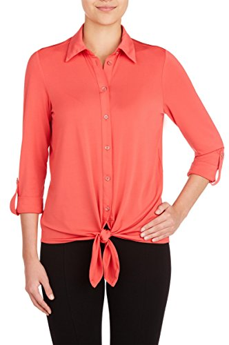 Nygard Women's Petite Slims Button Front Blouse With Tie Punch