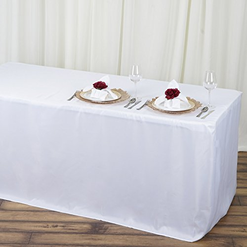 Efavormart 4FT Fitted White Polyester Table Cover Commercial Grade Wedding Banquet Event Tablecloth for Event Tradeshow Use