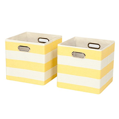 Posprica Collapsible Cube Organizers,Storage Cube Bins Boxes Basket Containers Drawers for Nurseries,Offices,Closets,Home Décor (2, Yellow stripe) - Medicine Cabinet Shelf Divider