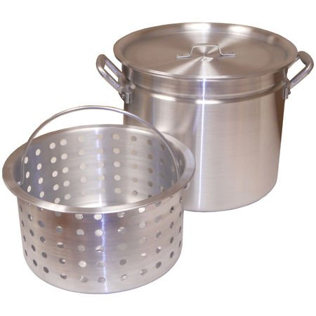 King Kooker Ridged Aluminum Boiling Pot with Basket and Lid, 100-Qt.