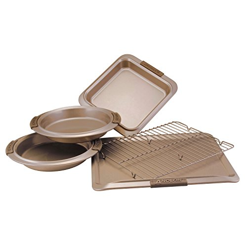 Anolon Advanced Bronze Nonstick Bakeware 5-Piece Bakeware Set with Silicone Grips (Silicone Cookie Anolon Sheet)