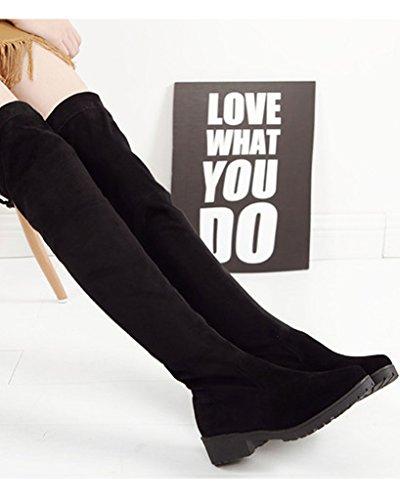 Minetom Mujer Otoño Nuevo Moda Apretado Esbelto Overknee Botas Elástico Boots Largas Botas Negro