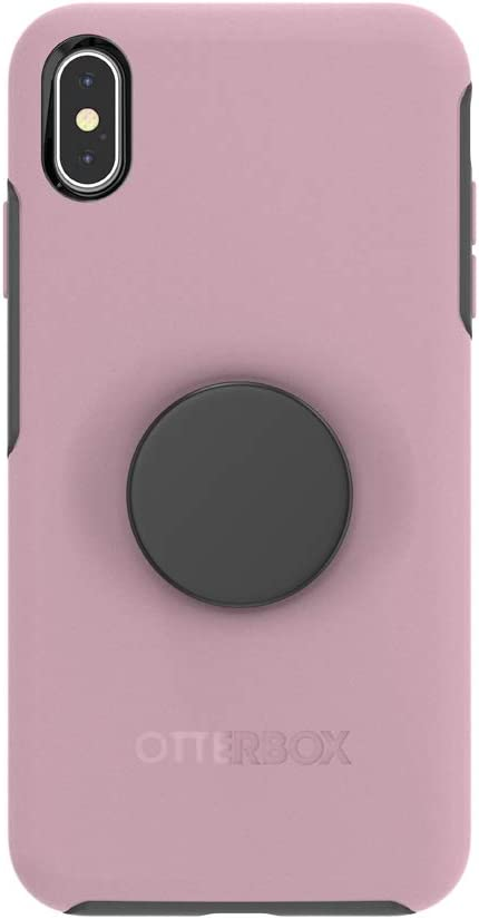 Otter + Pop for iPhone Xs Max: OtterBox Symmetry Series Case with PopSockets Swappable PopTop - Mauvelous with Aluminum Black