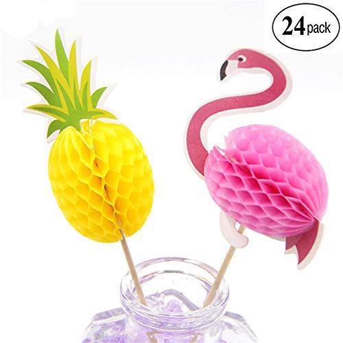 NADARDA Unique 3DFlamingo Pineapple Cupcakes Toppers Party Supplies,Cocktail Picks Cake Decoration for Luau Hawaii Wedding Beach Party,Cake Decoration(24 Pcs)