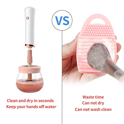 Senbowe Upgraded Makeup Brush Cleaner and Dryer Machine, Electric Cosmetic Automatic Brush Spinner with 8 Size Rubber…