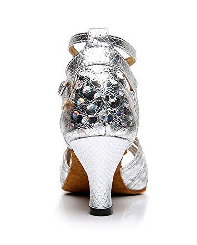 Tda Da Donna Tacco Medio In Pelle Di Serpente Con Paillettes Glitterate Peep Toe Salsa Tango Da Ballo Latino Ballo Scarpe Da Sposa Argento