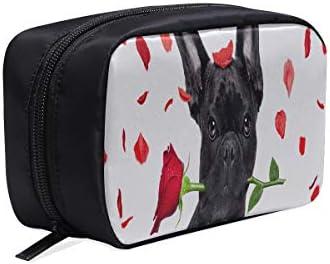 Bolsa de aseo Mujer Bulldog francés Perro loco y tonto enamorado Vale Bolsa de moda para niñas Bolsa de viaje cosmética Bolsa de cosméticos para niñas Bolsas de cosméticos Estuche multifunción Bolsa: